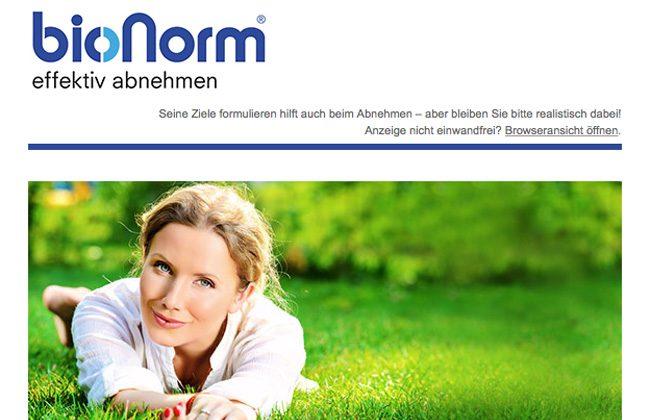 Newsletter von bionorm - effektiv abnemen