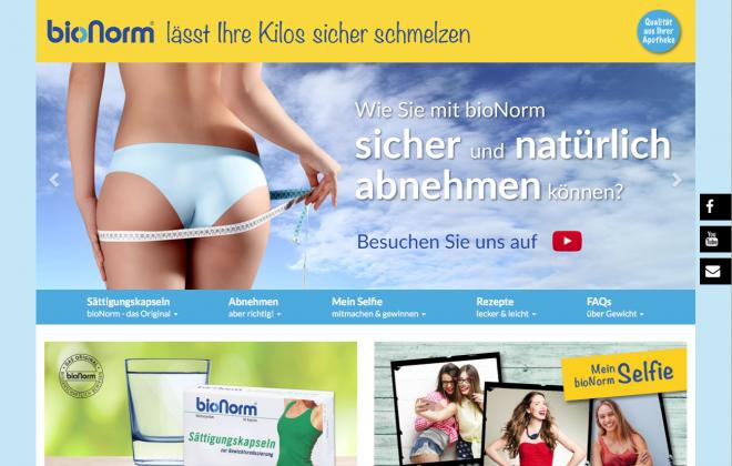 Website - bionorm lässt Ihre Kilos sicher schmelzen